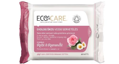 """Masinis.lt - Medvilninės, ekologiškos, higieninės servetėlės veidui """"ECOCARE"""", rožė ir ramunėlė! Gražiai ir sudrėkintai veido odai!"""