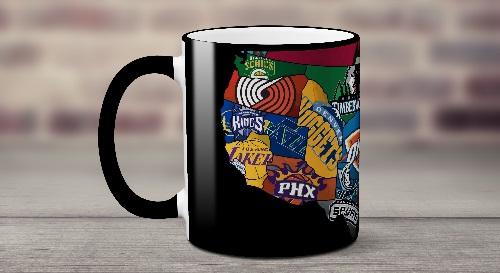 """Masinis.lt - Itin kokybiškas, keramikinis """"NBA krepšinio komandos"""" puodelis! Jūsų išskirtinis puodelis!"""