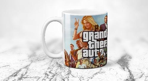 """Masinis.lt - Itin kokybiškas, keramikinis """"GTA 5 Grand Theft Auto"""" puodelis! Jūsų išskirtinis puodelis!"""