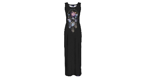 Masinis.lt - SANDĖLYJE!Ryškiais piešiniais marginta, maxi ilgio moteriška suknelė, 3XL - 4XL dydis (5902982126684)!