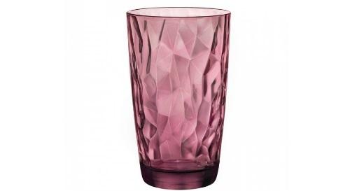 """Masinis.lt - SANDĖLYJE! Aukšta, itališko dizaino, """"Bormioli Rocco DIAMOND"""" purpurinės spalvos skaidri stiklinė!"""
