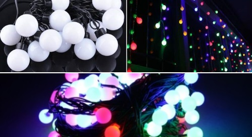 Masinis.lt - IŠPARDAVIMAS!!! Itin daili šventinė įvairiaspalvių burbuliukų girlianda (100 lempučių) už viliojančią kainą!