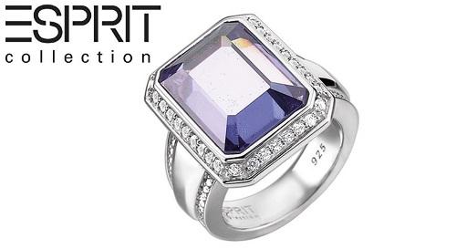 """Masinis.lt - """"ES Collection"""" prabangus, sidabrinis žiedas, papuoštas baltos spalvos, aukščiausios kokybės natūraliais cirkoniais ir dangaus mėlynumo spalvos kvarco kristalu (ELRG91639B), 18 (16.54 g.) dydis!"""