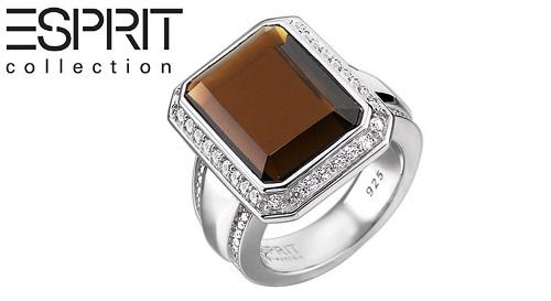 """Masinis.lt - """"ES Collection"""" prabangus, sidabrinis žiedas, papuoštas baltos spalvos, aukščiausios kokybės natūraliais cirkoniais ir dūmų spalvos kvarco kristalu (ELRG91639A), 18 (15.57 g.) dydis!"""