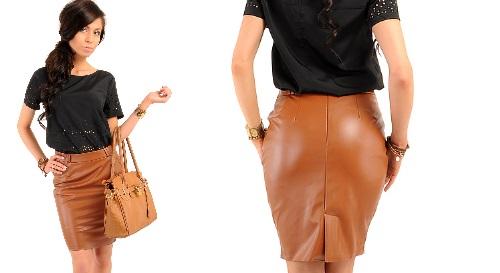 Masinis.lt - PREKĖ SANDĖLYJE! Odos imitacijos, rudos spalvos, XL dydžio sijonas už puikią kainą (MOE015)!