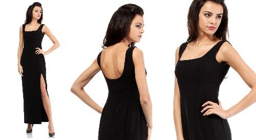 Masinis.lt - PREKĖ SANDĖLYJE! Juodos spalvos, ilga, L dydžio labai elegantiška suknelė už puikią kainą (MOE202)!